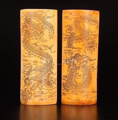 Cattle Bone Print Painting Dragon Sacred Ornamental Crafts Collectable