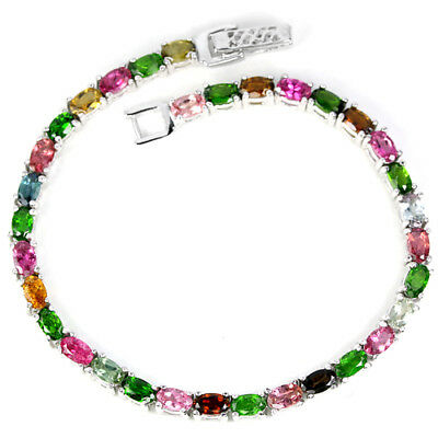 Natural Aaa Multi Color Tourmaline Oval Sterling 925 Silver Bracelet 7 Inch.