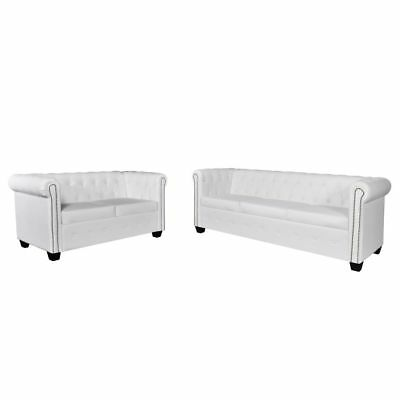 vidaXL Set sofás Chesterfield 2-3 plazas blanco revestimiento cuero artificial