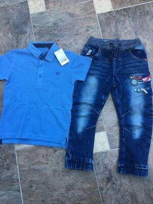 New  Next Boys Racing Car Jeans / Polo T Shirt Top  2  Bundle Items  Age 4 - 5 Y
