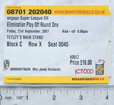 2007 ticket Bradford Bulls Elimination Play Off Round One adult