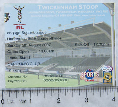 2007 ticket Harlequins v. Leeds Rhinos, Captain's Club