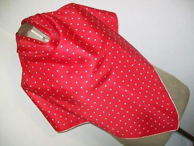 Spotty Dotty ! Gorgeous Large Cherry & White Polka Dot Design Vintage Silk Scarf
