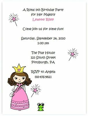 20 Personalized Custom Birthday Princess Party Invitations