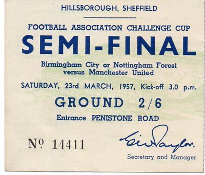 1957 Fac Semi-Final Ticket Manchester United V Birmingham City Very Good 2/6