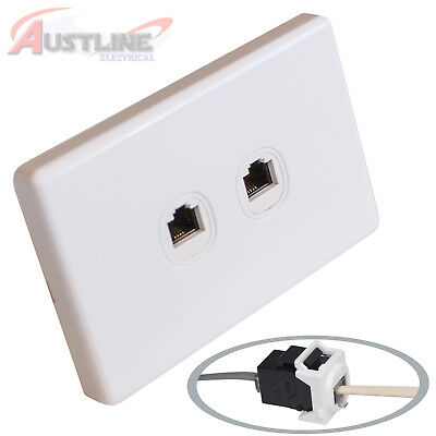 2 Port Gang RJ11 Phone Wall Plate Clipsal Style Cat 3 Coupler F/F AW x2 +C-Clip