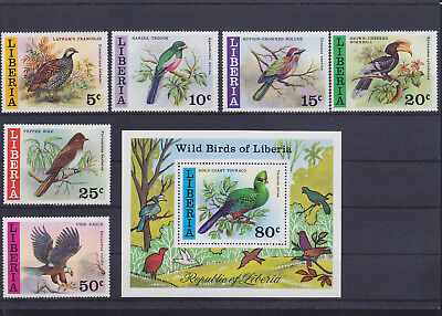 054989 Vögel Birds Liberia 1025-30 + Block 85 ** MNH Year 1977