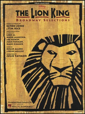 The Lion King Broadway Vocal Selections Piano Vocal Sheet Music Book