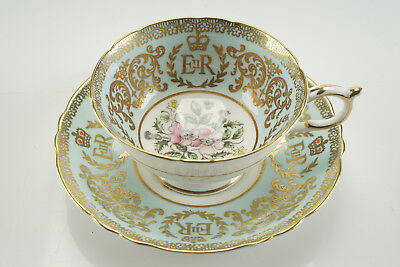 Antique Vintage PARAGON Bone China Tea Cup & Saucer ERII Double Crested Queen