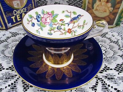 Aynsley Blue Bird Gold Gilt Lace Floral Corset Tea Cup And Saucer