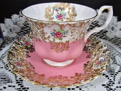 Royal Albert Picardy Pink Gold Roses Floral Fluted Tea Cup And Saucer