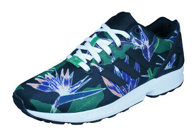 2cd2ffcd04 adidas Originals ZX Flux Mens Trainers Floral Weed Retro Shoes Gunge Black  Green