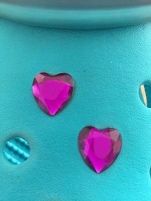 2 Amethyst Purple Gem Heart Shoe Charms For Crocs & Jibbitz Wristbands