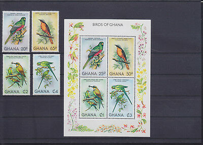 055012 Vögel Birds Ghana 872-75 + Block 88 ** MNH Year 1981