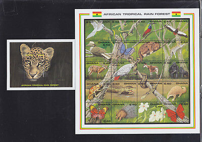 055020 Vögel Birds ... Ghana 1407-26 + Block 159 ** MNH Year 1990