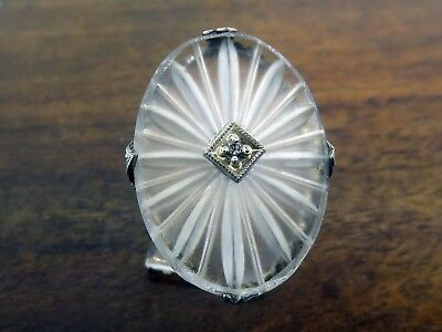 Vintage silver ART DECO 1920's CAMPHOR GLASS GENUINE DIAMOND FILIGREE ring