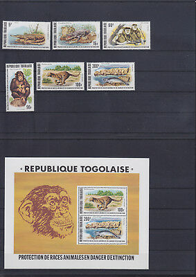 055046 Katzen Cats ... Togo 1235-40 + Block 117 ** MNH Year 1977