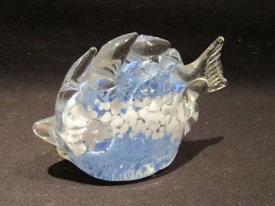 Murano Italian Art Glass Light Blue & White Inside Angel Fish Shaped Paperweight