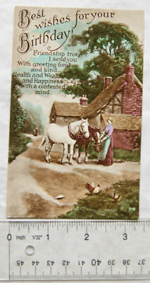vintage postcard Best Wishes For Your Birthday - Cart Horses