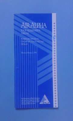 Airline Memorabilia / Timetable / Air Alpha / Effective February 1St, 1992