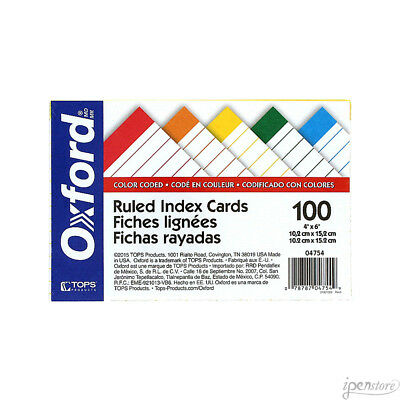 """Pk/100 Tops Oxford Color Coded Index Cards, 4"""" x 6"""" Ruled, Assorted Colors"""