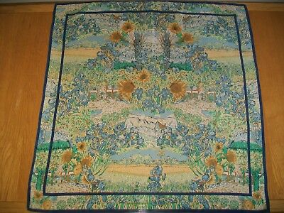 Very Pretty French Impressionist Painterly Design Vintage Silk Scarf