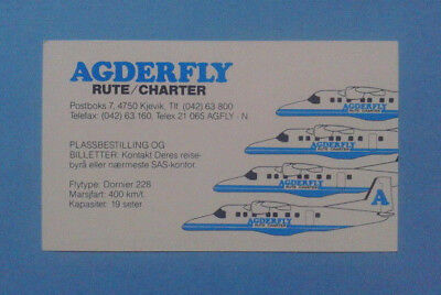 Airline Memorabilia / Timetable / Agderfly / Winter 1990-91