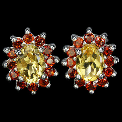 Sterling Silver 925 Oval Genuine Natural Citrine and Garnet Stud Earrings