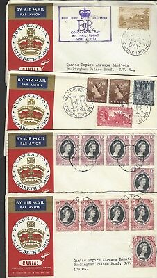 1953 Coronation selection of eleven Qantas flown airmail first day covers