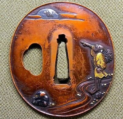 "Very fine TSUBA 18-19th C Japanese Edo Antique Koshirae fitting ""Farmer"" e340"