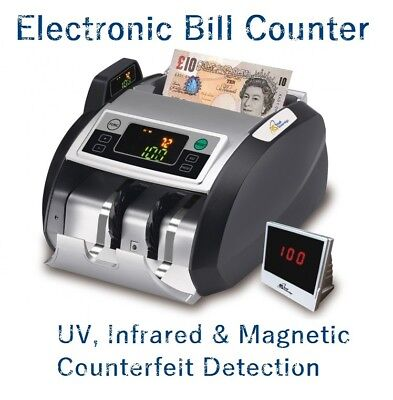 Automatic Bank Note Bill Counter Currency Fake Detector Money Pound Euro Cash