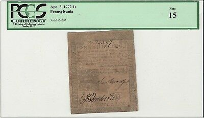 Pennsylvania April 3, 1772 1 Shilling PCGS Fine 15 PA-154 Colonial Currency
