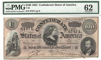 $100 1864 Confederate States of America T-65 CSA PMG Uncirculated 62