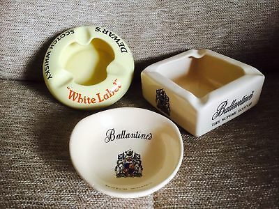 LOTTO 3 PORTACENERE WHISKY ORIG ANNI '70 Cendrier Ashtrays pottery ballantine's