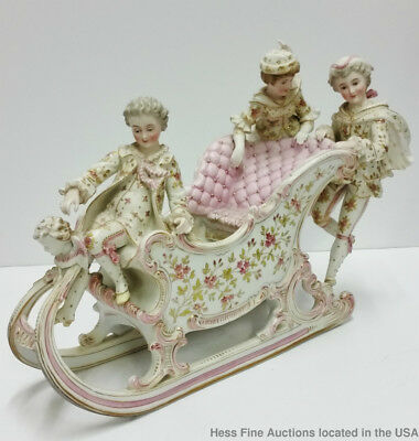 Antique German Bisque Porcelain Hand Painted Sleigh Figural Centerpiece Planter