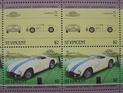 1953 CUNNINGHAM C5R C-5R Car 50-Stamp Sheet / Auto 100 Leaders of the World