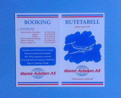 Airline Memorabilia / Timetable / Master Aviation As / Eff. October 17Th, 1996