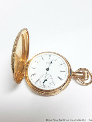 14K Gold Antique Elgin Hunters Case Ladies Pocket Watch Running