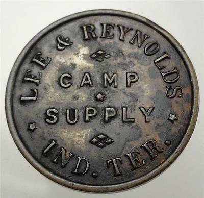 """LEE & REYNOLDS INDIAN TER. """"FANTASY ISSUE"""" Trade Token CAMP SUPPLY GF $1 ME4619"""