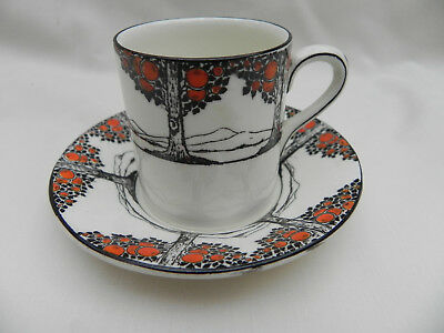 "Crown Ducal ORANGE TREE SMALL COFFEE CUP CAN 1.7/8"" X 2.1/8"" & SAUCER 3.7/8"""