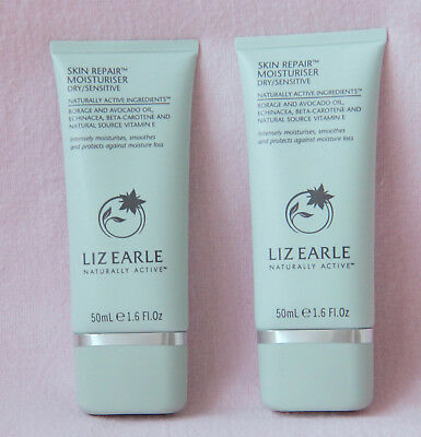 Liz Earle Skin Repair Moisturiser 50Ml Tube Dry/sensitive X 2 - Animal Friendly