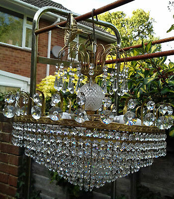 A Beautiful Large 7 Layers Of Lead Crystal & Brass Chandelier Light W/ Six Bulbs