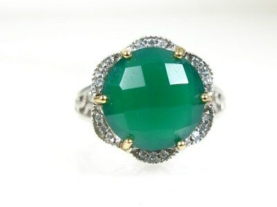 Estate 14k & Sterling Silver 925 Green Chalcedony & CZ Ladies Ring 5.0g