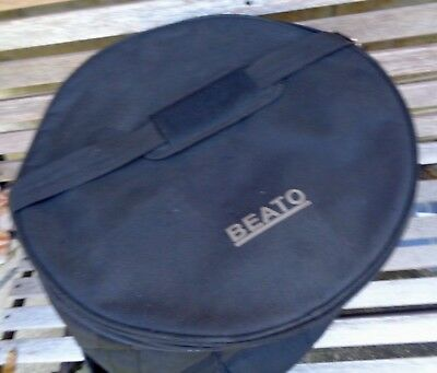 "Beato 16""x16"" padded floor tom case: carry handles, shoulder strap, extra pocket"