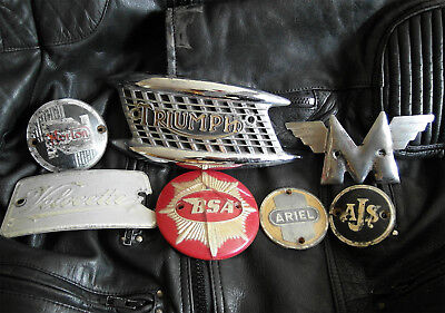 British Vintage Motorcycle tank badges inc: Norton, Matchless...