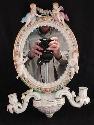 Antique Porcelain Dresden Mirror & Candle Sconce With Cherubs~Putti~Flowers