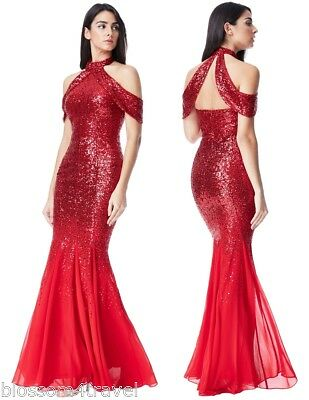 Goddiva Red Sequin Chiffon Inserts Maxi Dress Prom Party Bridesmaid Ball Gown