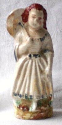 C18Th Creamware Figure Of A Lady With A Parasol