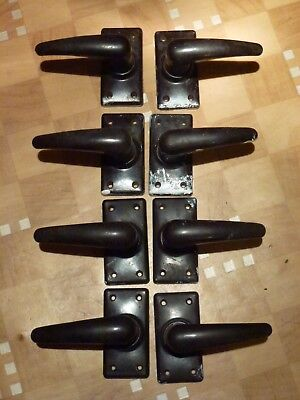 8 VINTAGE ANTIQUE BAKELITE DOOR HANDLES RECLAIMED SALVAGE 1930's HOUSE CLEARANCE