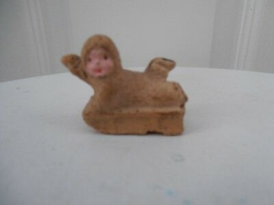 Old Antique Vintage Bisque Snow Baby, Snow Babies  On Sledge Cake Decoration